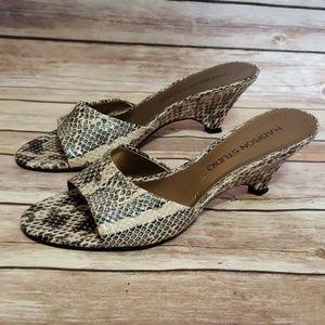 Madison Studio Leather Snakesin Open Toe Heels